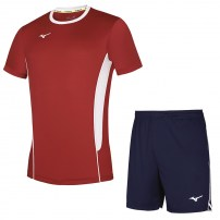 Волейбольная форма мужская Mizuno Authentic High-Kyu Tee / High-Kyu Short Красный/Темно-синий